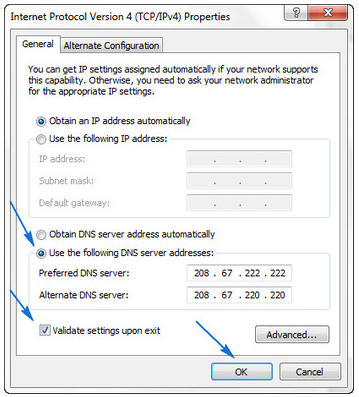 Change DNS Address to Open DNS 2