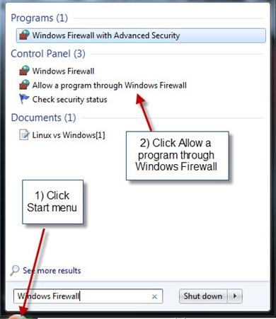 Change Firewall setting