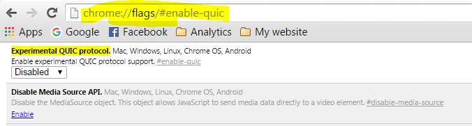 Disable Chrome Quick Protocol