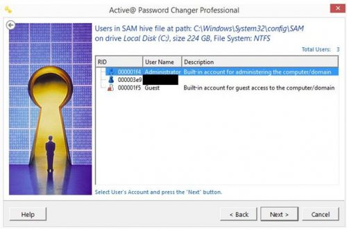 Recover Password using Active@ Password Changer Software