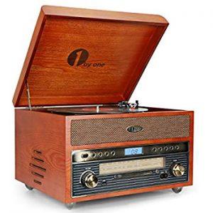 1byone Nostalgic Wooden Turntable