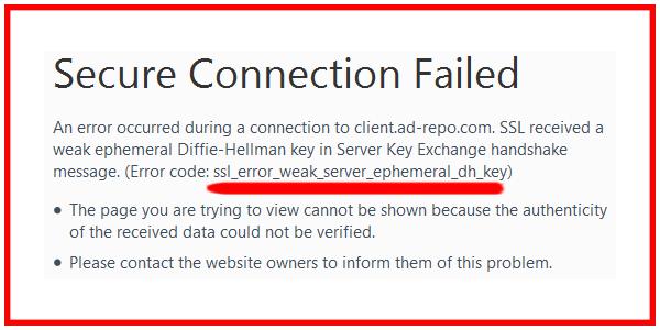 3 Ways To Fix 'ssl_error_weak_server_ephemeral_dh_key' Error